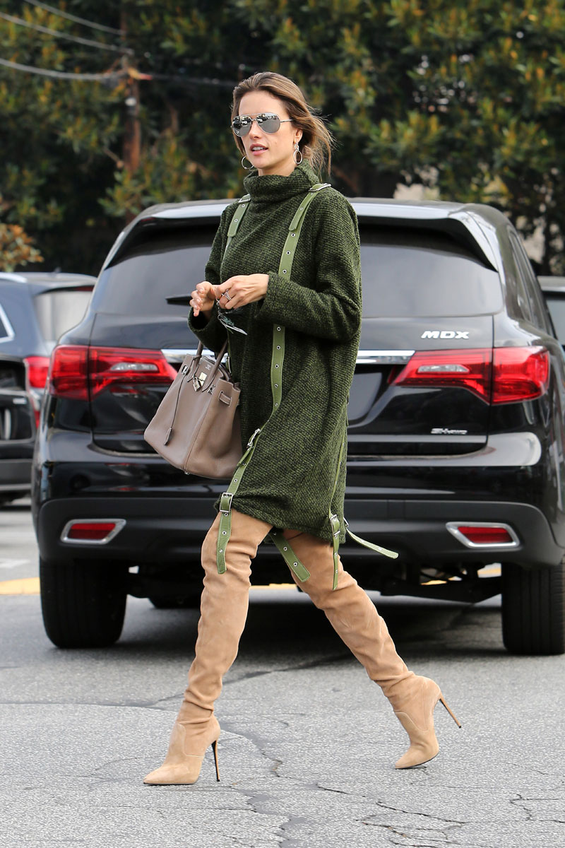 Alessandra Ambrosio in Nude Thigh High Boots