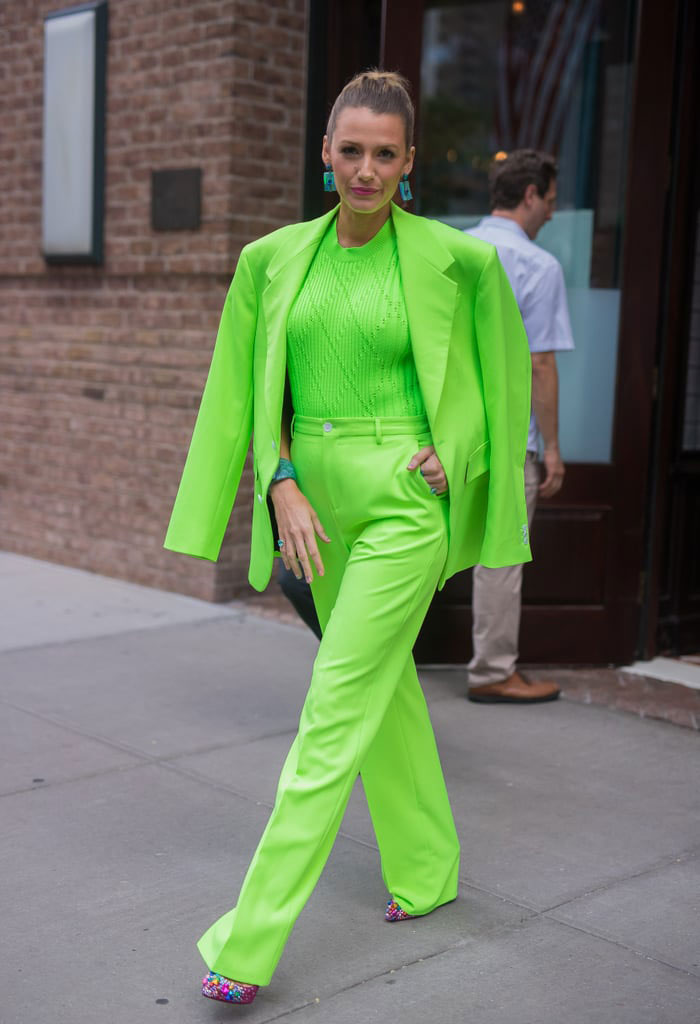 Blake Lively Neon Green Versace Suit