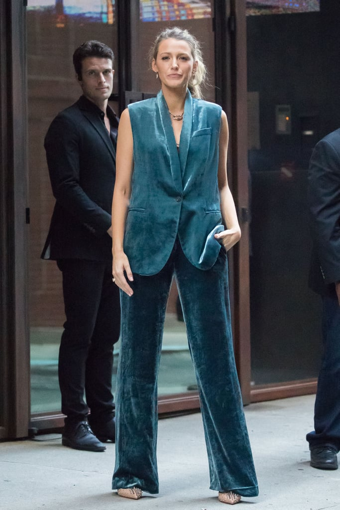 Blake Lively teal velvet suit