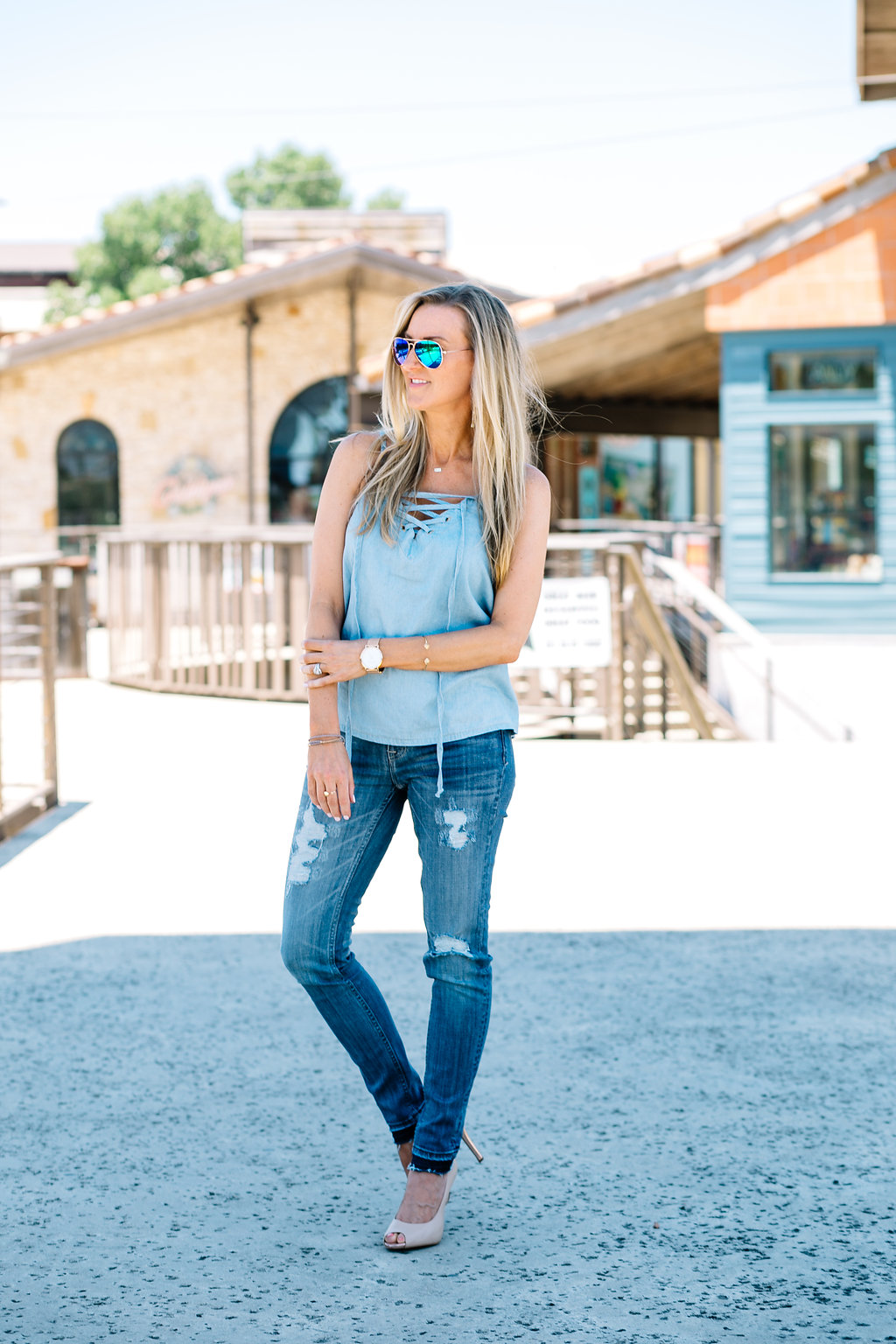 Celebrity-Style-Guide-Mimi Chica Lace-Up Chambray Camisole