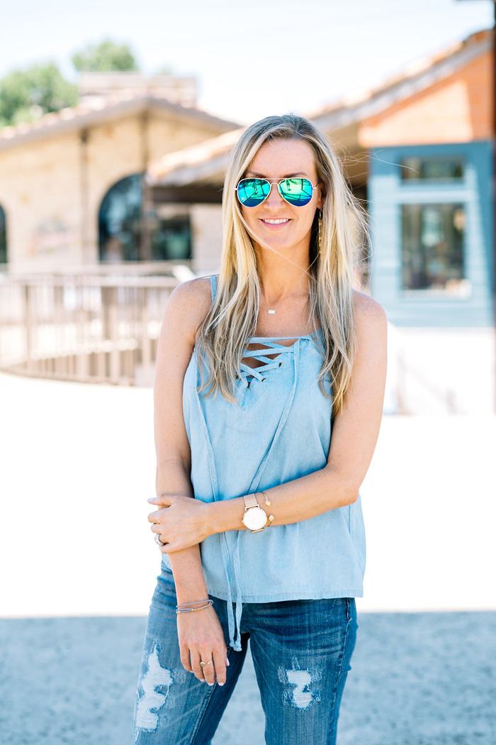 Celebrity-Style-Guide-mimi-chica-lace-up-chambray-top