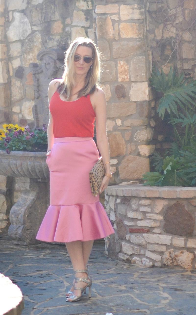 Celebrity-Style-Pink-tulip-satin-skirt