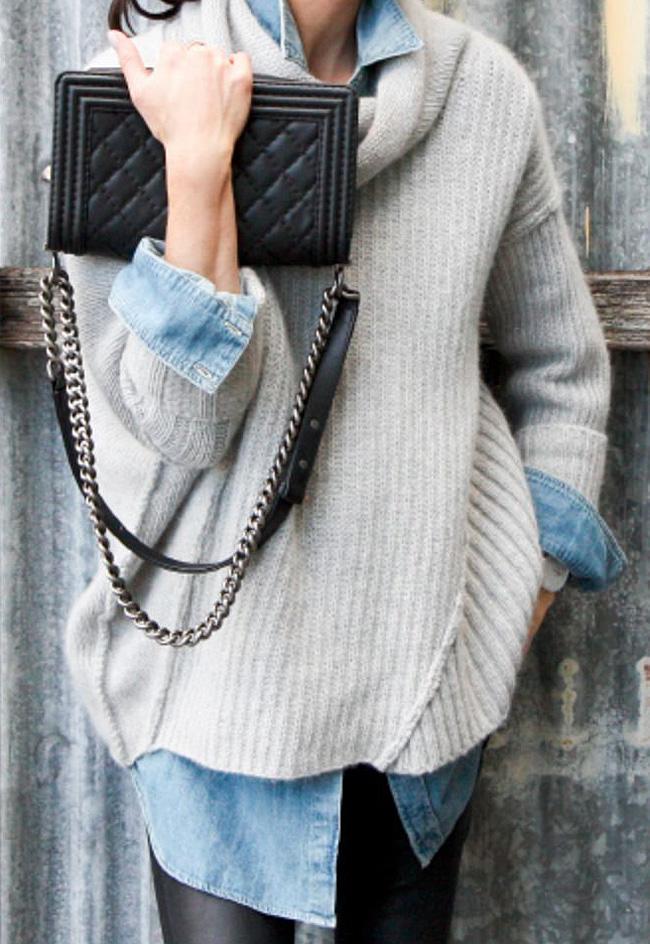 Denim-shirt-poncho-sweater