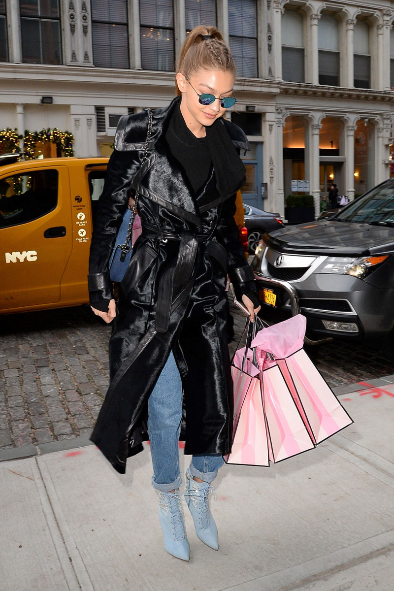 Gigi Hadid Black Trench Coat