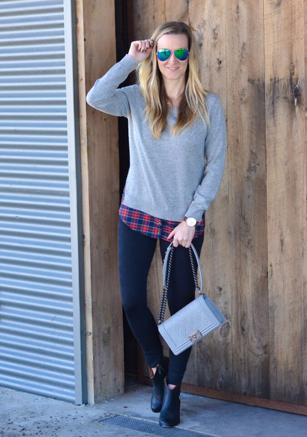 Goodnight-Macaroon-Signature-Heather-Grey-Sweater-Plaid