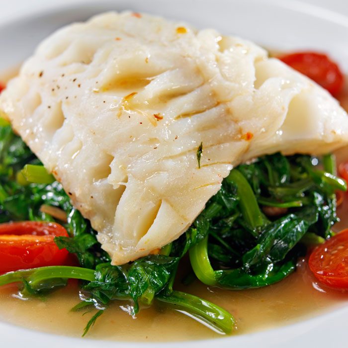 Halibut with sautéed spinach