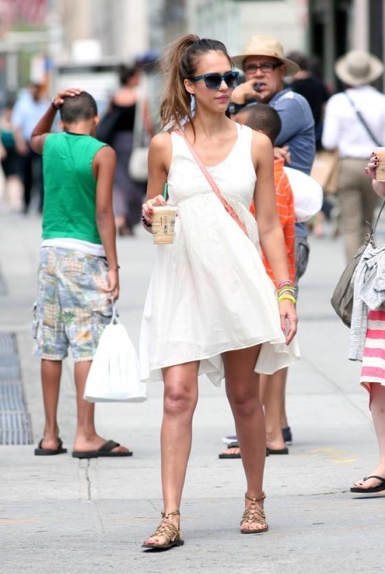 Jessica Alba-white-Summer Dress
