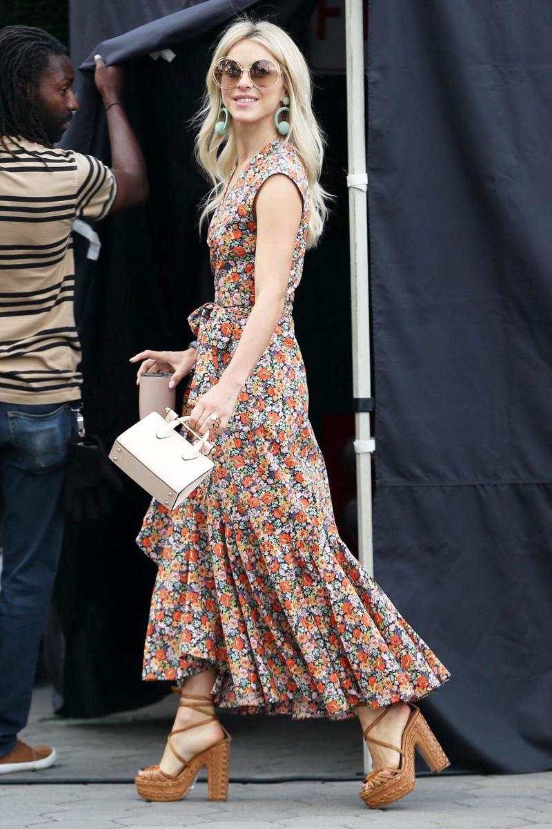 Julianne-Hough-Floral-dress-round-sunglasses
