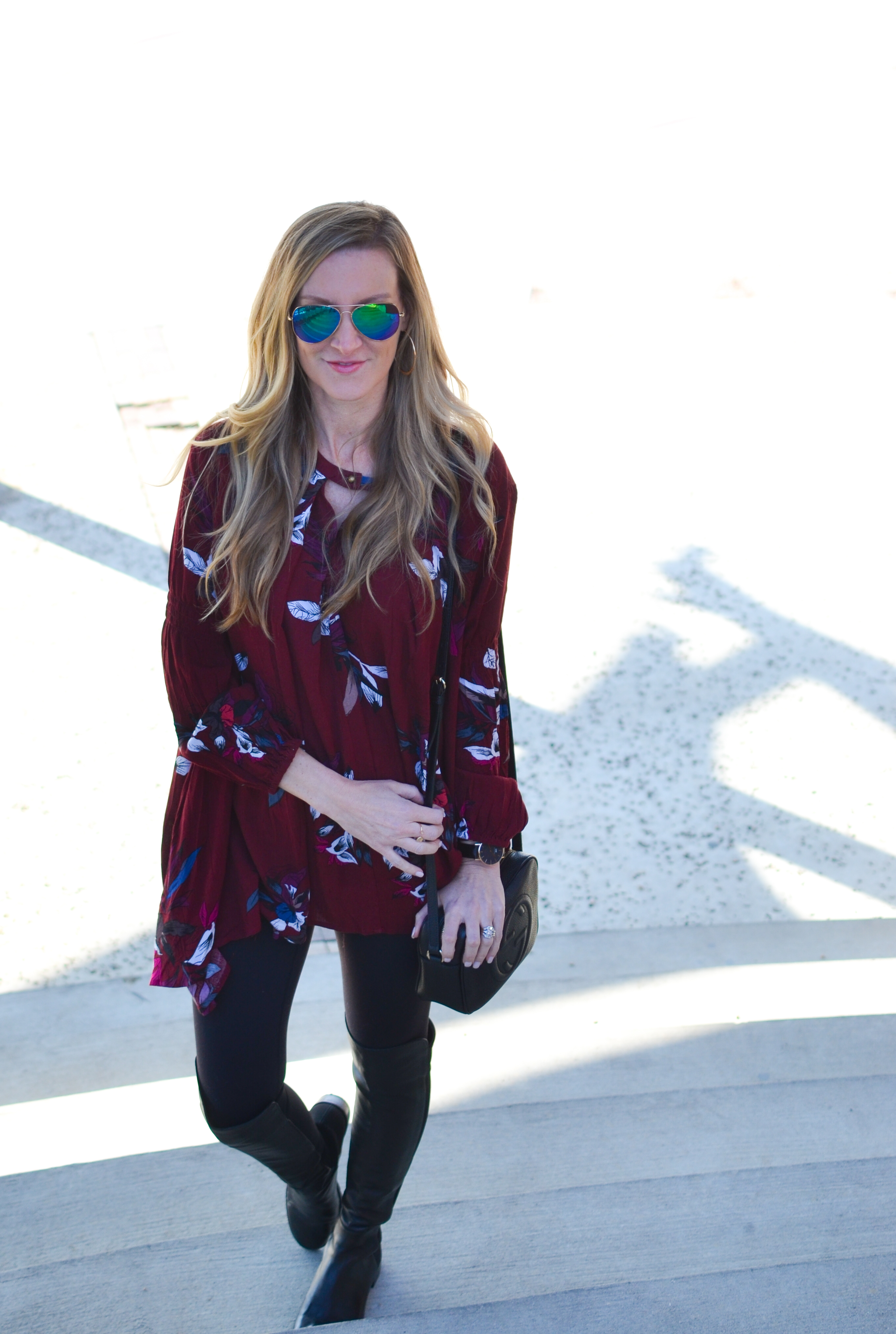 Keep Swinging Floral Tunic in Wine-heather-celebrity