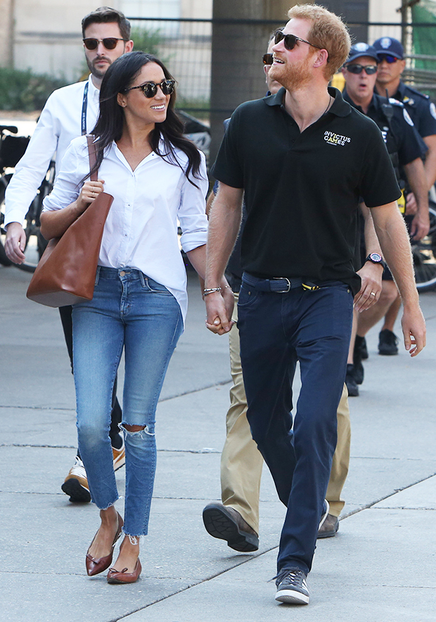 Meghan Markle wearing Mother Denim's The Looker Ankle Fray jeans at the Invictus Games