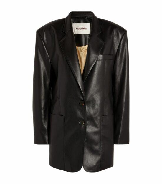 Nanushka Black Vegan Leather Evan Blazer