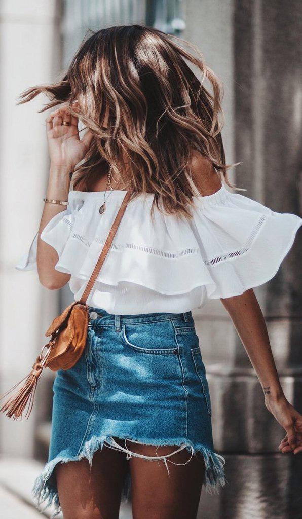 Ruffle-top-asymmetrical-denim-skirt