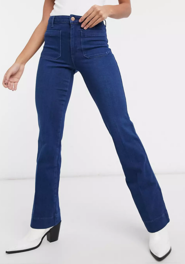 Wrangler High Waist Flared Jeans in Indigo