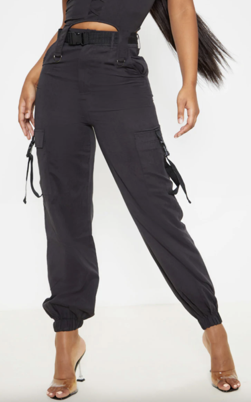 Black Buckle Detail Belted Cargo Trouser