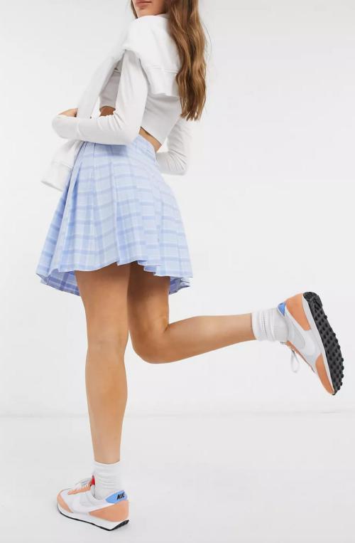 New Look Mini Pleated Tennis Skirt in Pastel Blue