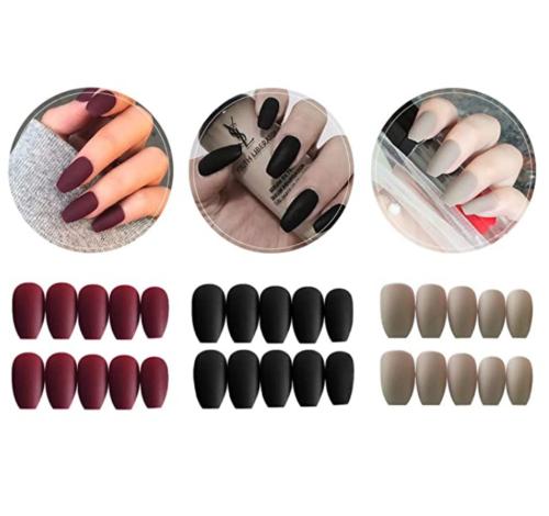 3 Boxes (72 Pcs) Matte Coffin Press on Nails