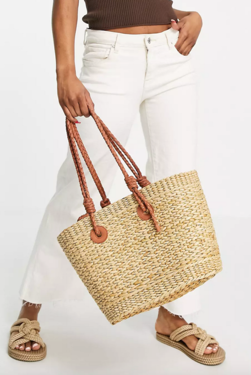 Whistles Lianne tote bag in natural straw