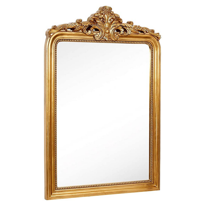 Hamilton Hills Top Gold Baroque Wall Mirror