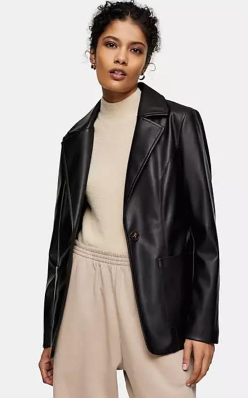 Topshop Faux Leather Blazer