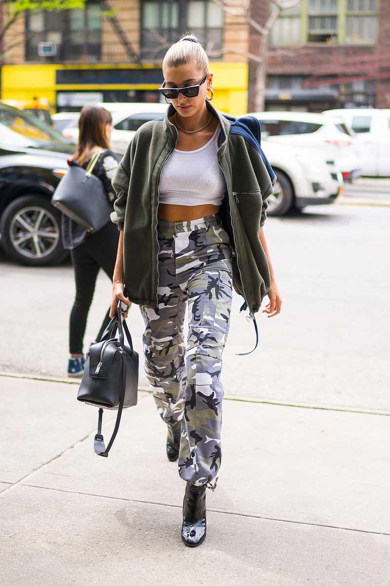 hailey baldwin camo pants trend