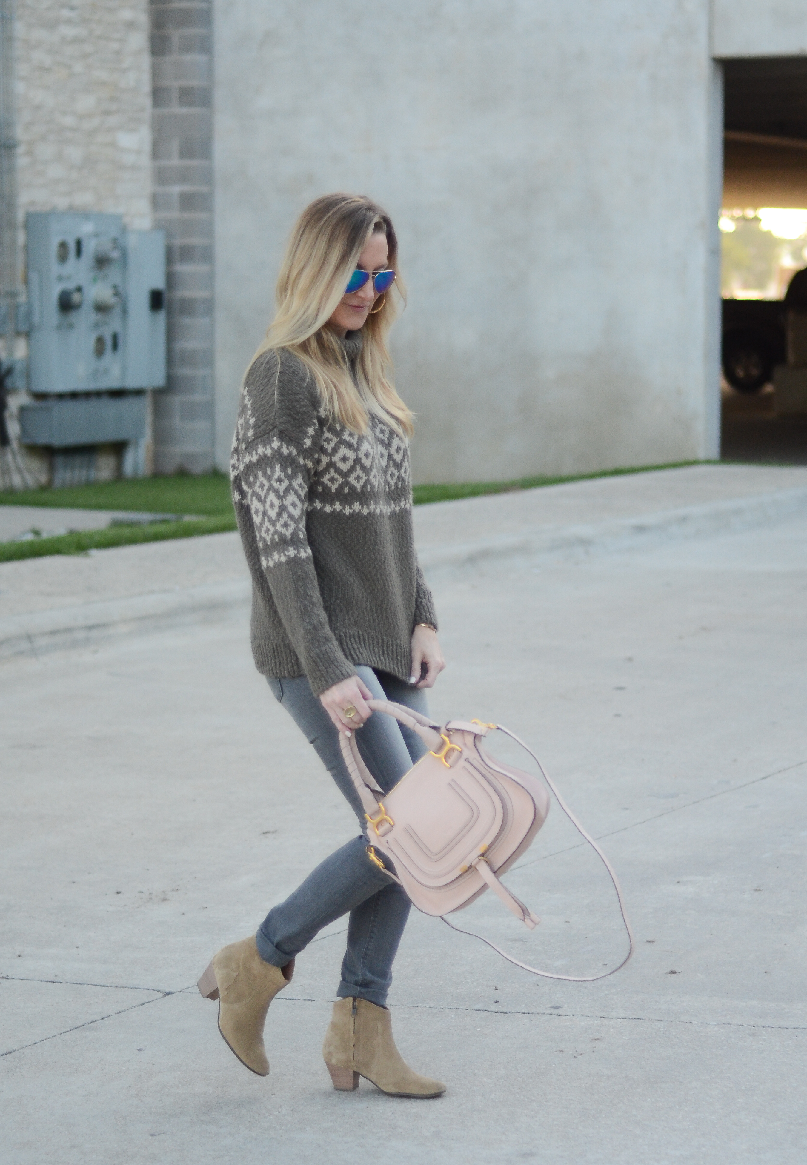 VINCE Fair Isle wool-blend turtleneck sweater