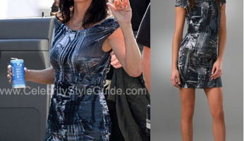 Courtney Cox Stunning In Her Helmut Lang Foil Print Dress!