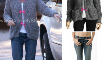 Elin Nordegren Style! Cute Grey Sweater With Pink Detail!