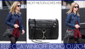 Rebecca Minkoff Boho Clutch in Black Cat