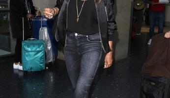 Heidi Klum's Bomber Jacket Gives The Cold Shoulder