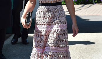 Pippa Middleton Plays It Cool In A Pink Lace Dress by Self-Portrait