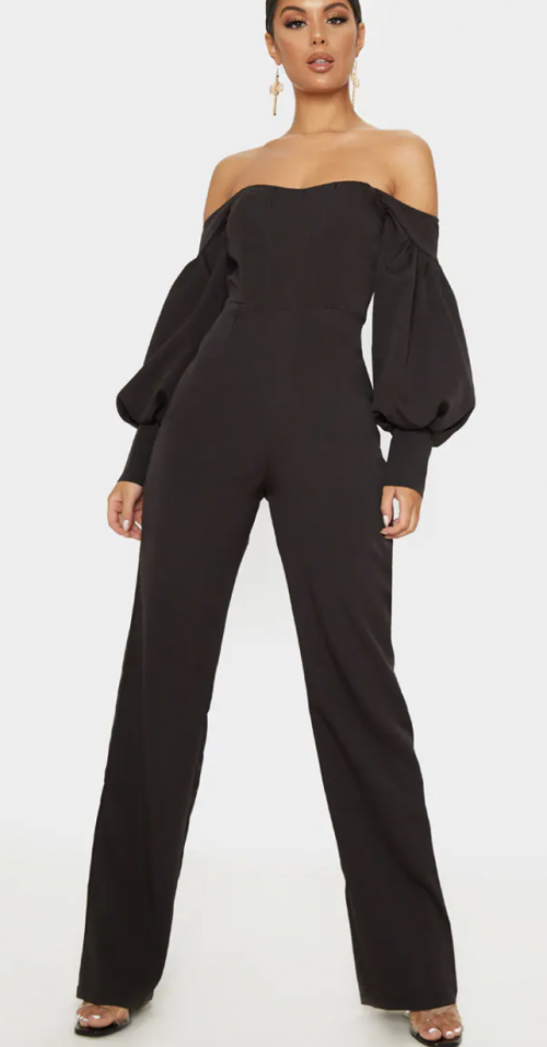 Pretty Little Thing Black Bardot Jumpsuit