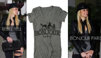 Paris Loves Her Rebel Yell Bonjour V-Neck Tee