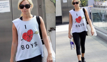Ashley Tisdale Wearing Her Wildfox I Hate Boys Cut-Off Tank.