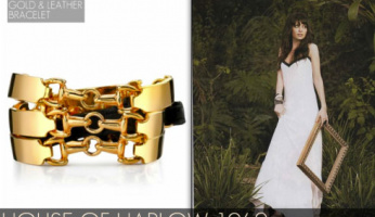 House of Harlow 14KT Gold-Plated Metal and Black Leather Bracelet