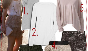 Celebrity Style Trend: Embellished Skirt & Basic Shirt