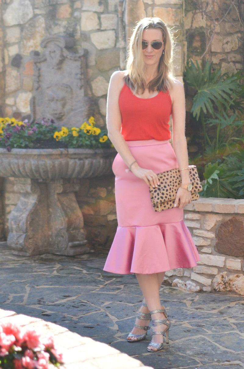 celebrity-style-j-crew-pink-satin-skirt