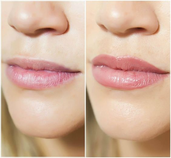 lip-blushing before and after