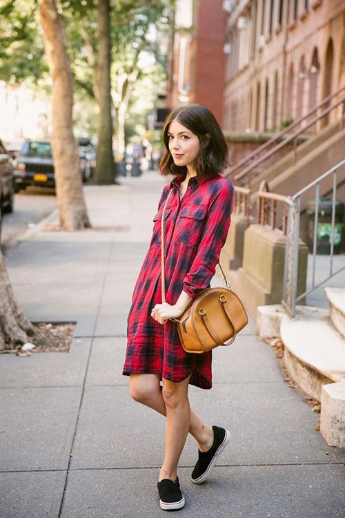 plaid-shirt-dress