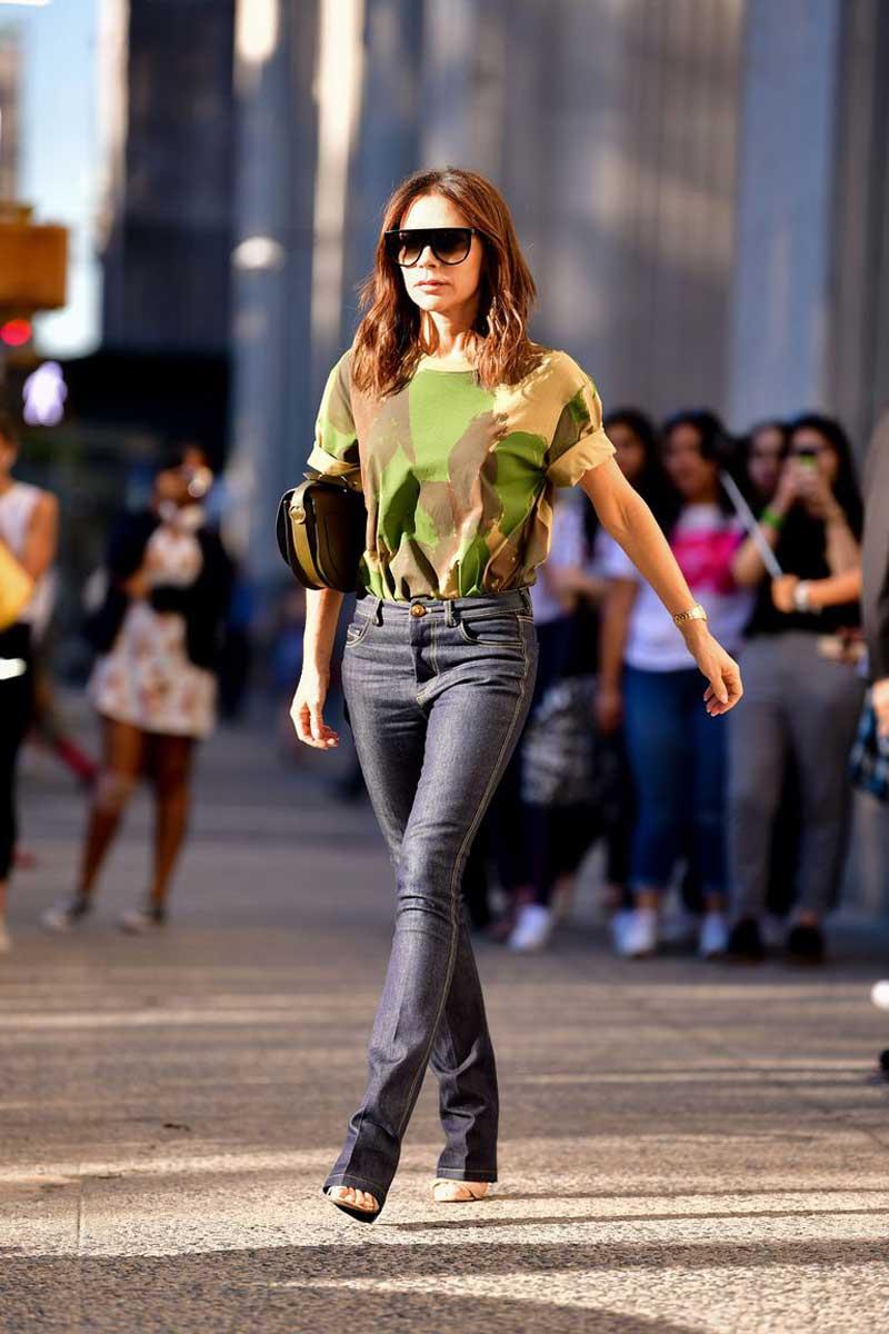 Victoria Beckham wearing camouflage
